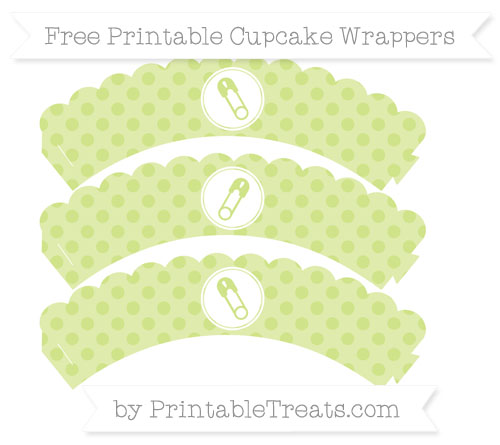 Free Pastel Lime Green Polka Dot Diaper Pin Scalloped Cupcake Wrappers