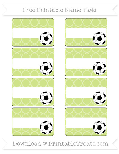 Free Pastel Lime Green Quatrefoil Pattern Soccer Name Tags