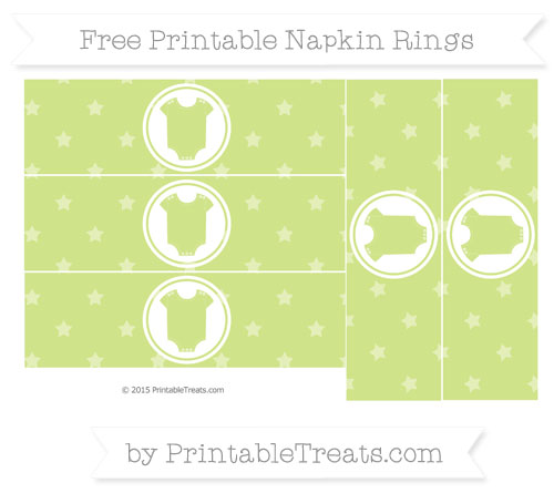Free Pastel Lime Green Star Pattern Baby Onesie Napkin Rings