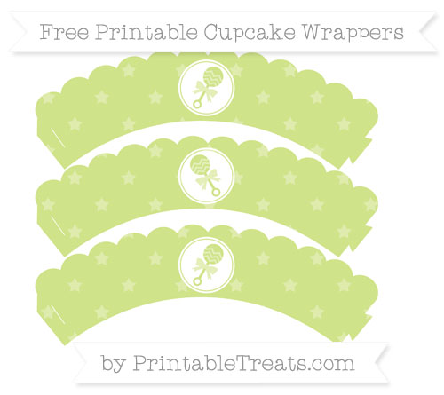 Free Pastel Lime Green Star Pattern Baby Rattle Scalloped Cupcake Wrappers