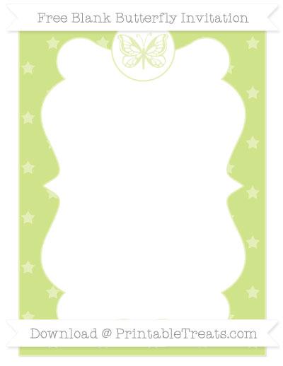 Free Pastel Lime Green Star Pattern Blank Butterfly Invitation