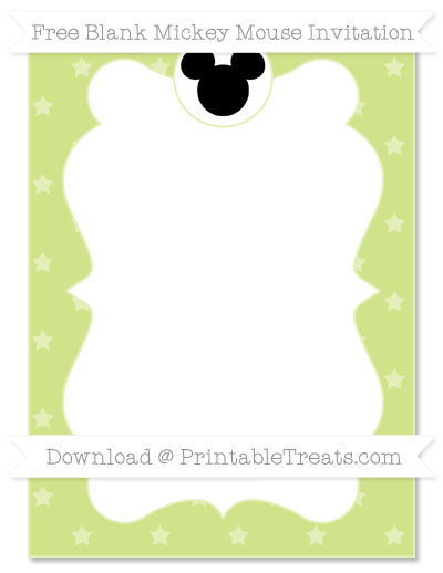 Free Pastel Lime Green Star Pattern Blank Mickey Mouse Invitation