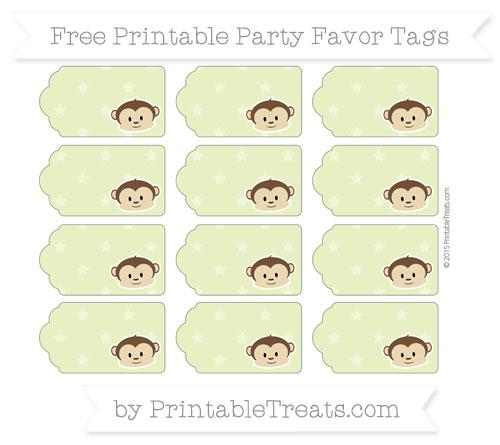 Free Pastel Lime Green Star Pattern Boy Monkey Party Favor Tags