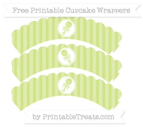 Free Pastel Lime Green Striped Baby Rattle Scalloped Cupcake Wrappers