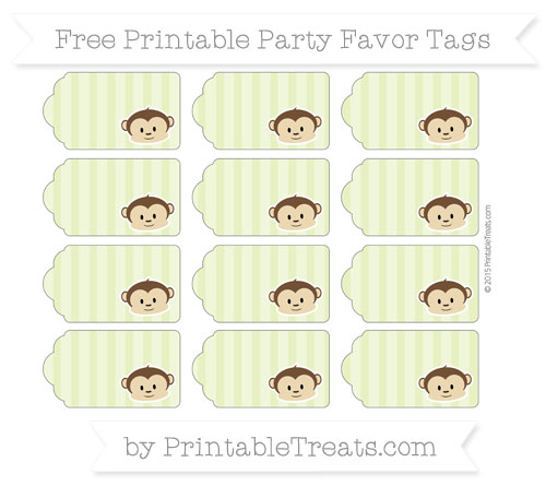 Free Pastel Lime Green Striped Boy Monkey Party Favor Tags