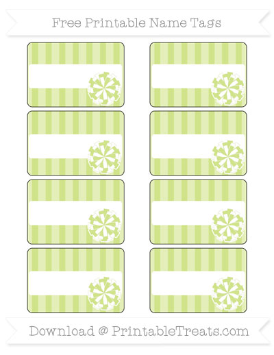 Free Pastel Lime Green Striped Cheer Pom Pom Tags