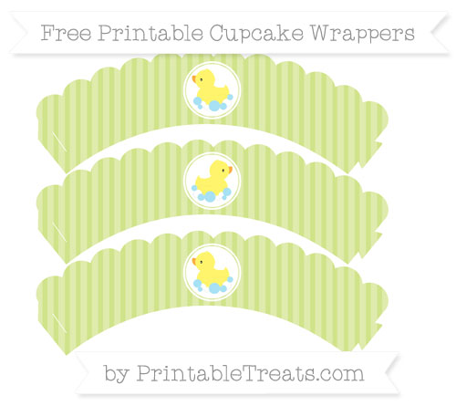 Free Pastel Lime Green Thin Striped Pattern Baby Duck Scalloped Cupcake Wrappers