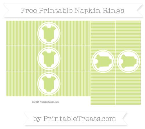 Free Pastel Lime Green Thin Striped Pattern Baby Onesie Napkin Rings