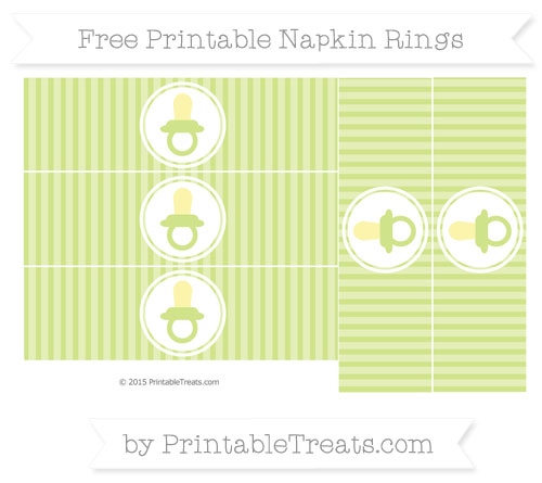 Free Pastel Lime Green Thin Striped Pattern Baby Pacifier Napkin Rings