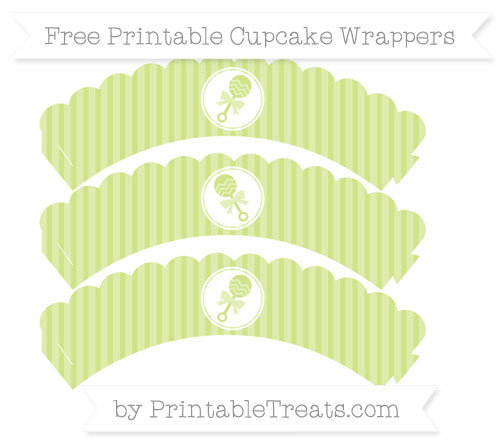 Free Pastel Lime Green Thin Striped Pattern Baby Rattle Scalloped Cupcake Wrappers