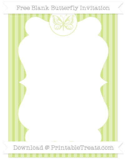 Free Pastel Lime Green Thin Striped Pattern Blank Butterfly Invitation