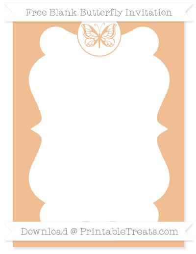 Free Pastel Orange Blank Butterfly Invitation
