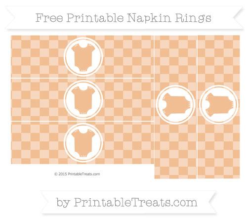Free Pastel Orange Checker Pattern Baby Onesie Napkin Rings