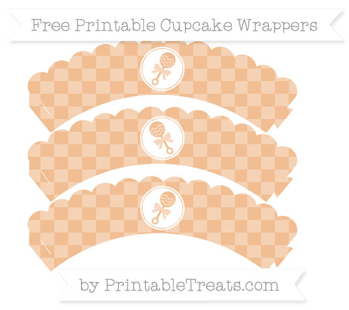 Free Pastel Orange Checker Pattern Baby Rattle Scalloped Cupcake Wrappers