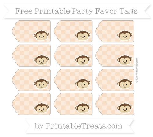 Free Pastel Orange Checker Pattern Boy Monkey Party Favor Tags