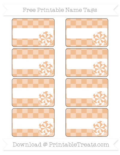 Free Pastel Orange Checker Pattern Cheer Pom Pom Tags