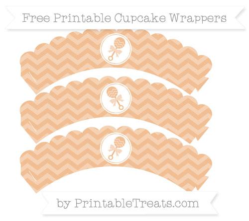 Free Pastel Orange Chevron Baby Rattle Scalloped Cupcake Wrappers