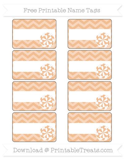Free Pastel Orange Chevron Cheer Pom Pom Tags