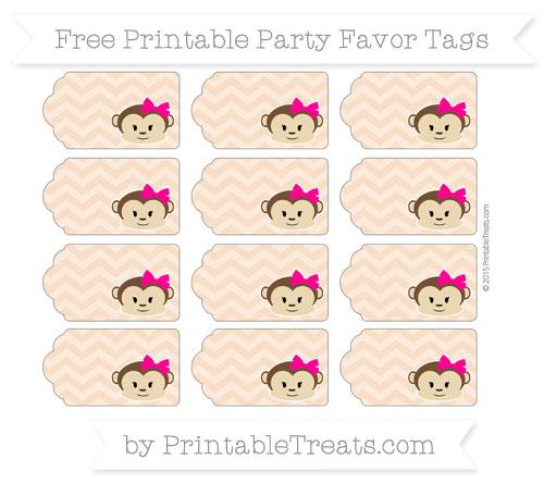 Free Pastel Orange Chevron Girl Monkey Party Favor Tags