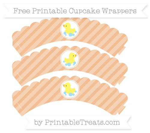 Free Pastel Orange Diagonal Striped Baby Duck Scalloped Cupcake Wrappers