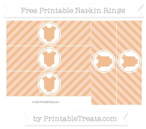 Free Pastel Orange Diagonal Striped Baby Onesie Napkin Rings