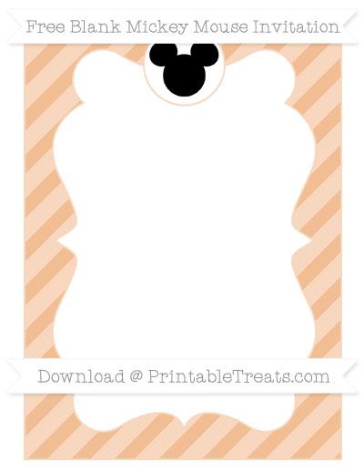 Free Pastel Orange Diagonal Striped Blank Mickey Mouse Invitation