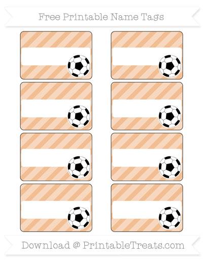 Free Pastel Orange Diagonal Striped Soccer Name Tags