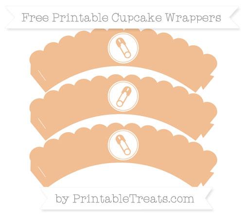 Free Pastel Orange Diaper Pin Scalloped Cupcake Wrappers