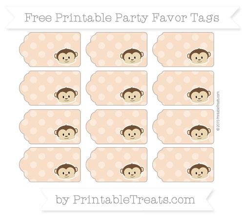 Free Pastel Orange Dotted Pattern Boy Monkey Party Favor Tags