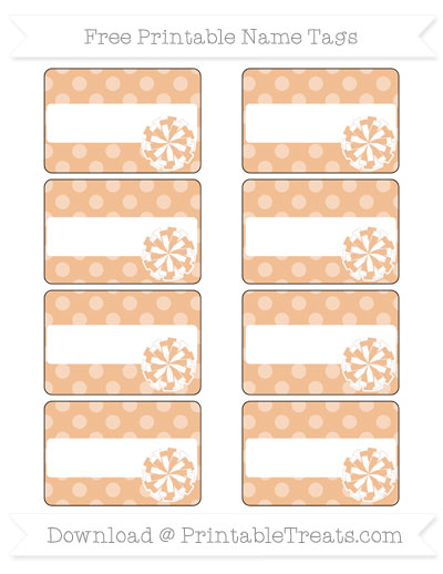 Free Pastel Orange Dotted Pattern Cheer Pom Pom Tags