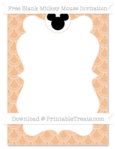 Free Pastel Orange Fish Scale Pattern Blank Mickey Mouse Invitation
