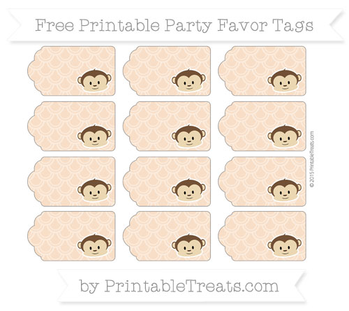 Free Pastel Orange Fish Scale Pattern Boy Monkey Party Favor Tags