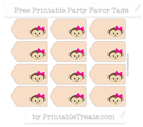 Free Pastel Orange Girl Monkey Party Favor Tags