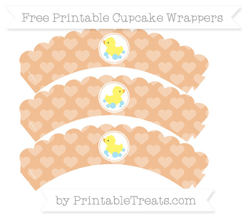 Free Pastel Orange Heart Pattern Baby Duck Scalloped Cupcake Wrappers