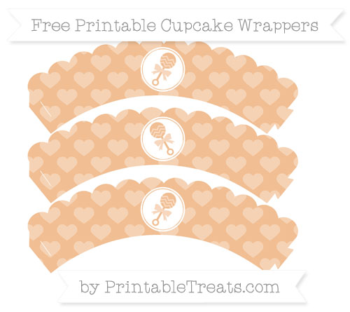 Free Pastel Orange Heart Pattern Baby Rattle Scalloped Cupcake Wrappers