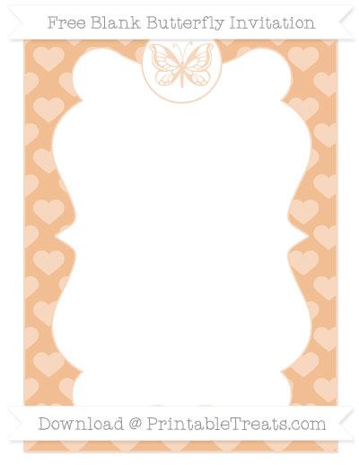 Free Pastel Orange Heart Pattern Blank Butterfly Invitation