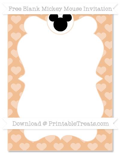 Free Pastel Orange Heart Pattern Blank Mickey Mouse Invitation
