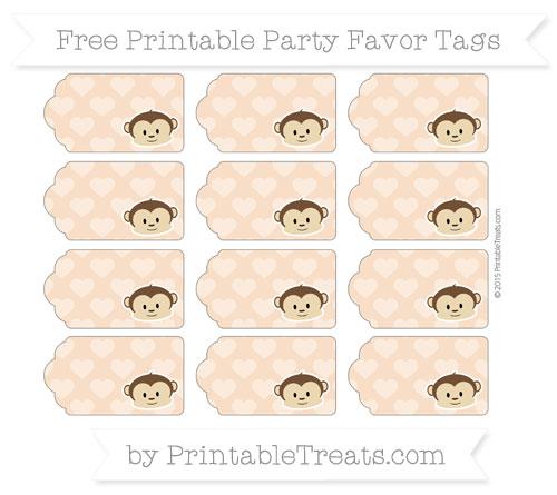 Free Pastel Orange Heart Pattern Boy Monkey Party Favor Tags