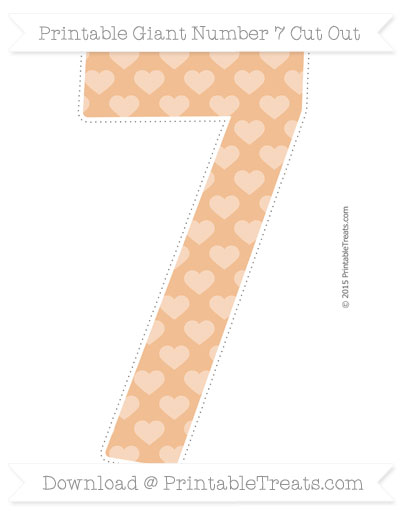 Free Pastel Orange Heart Pattern Giant Number 7 Cut Out