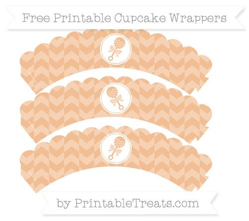 Free Pastel Orange Herringbone Pattern Baby Rattle Scalloped Cupcake Wrappers