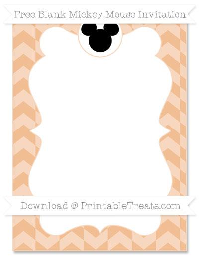Free Pastel Orange Herringbone Pattern Blank Mickey Mouse Invitation