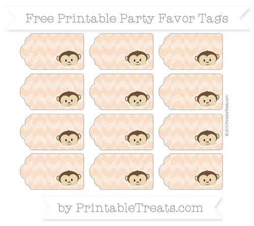 Free Pastel Orange Herringbone Pattern Boy Monkey Party Favor Tags