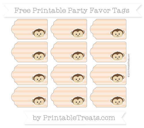 Free Pastel Orange Horizontal Striped Boy Monkey Party Favor Tags