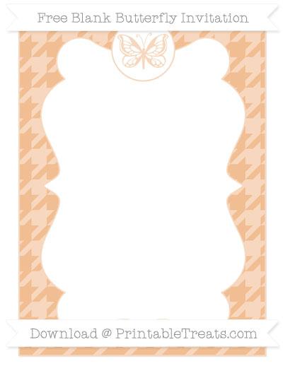 Free Pastel Orange Houndstooth Pattern Blank Butterfly Invitation