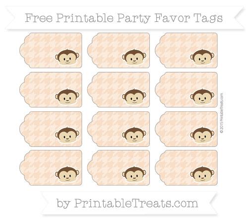 Free Pastel Orange Houndstooth Pattern Boy Monkey Party Favor Tags