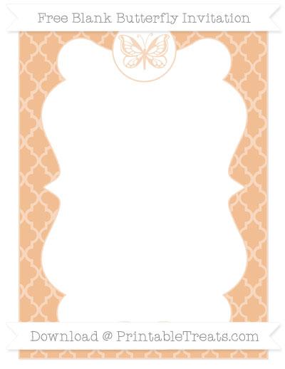 Free Pastel Orange Moroccan Tile Blank Butterfly Invitation