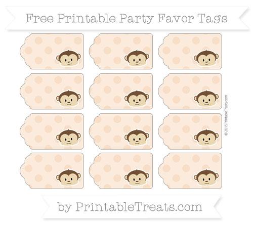 Free Pastel Orange Polka Dot Boy Monkey Party Favor Tags