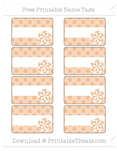 Free Pastel Orange Polka Dot Cheer Pom Pom Tags