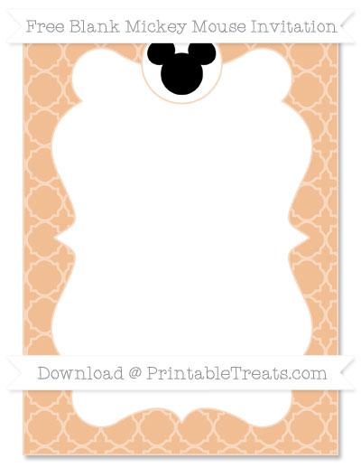Free Pastel Orange Quatrefoil Pattern Blank Mickey Mouse Invitation