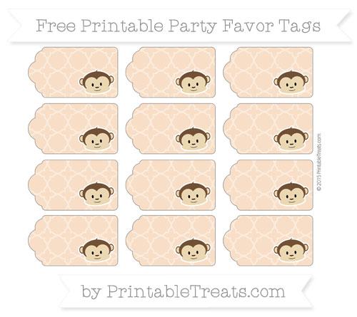 Free Pastel Orange Quatrefoil Pattern Boy Monkey Party Favor Tags